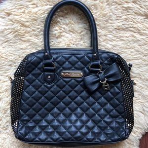 Betsey Johnson Quilted Satchel with Gold Dot Sides